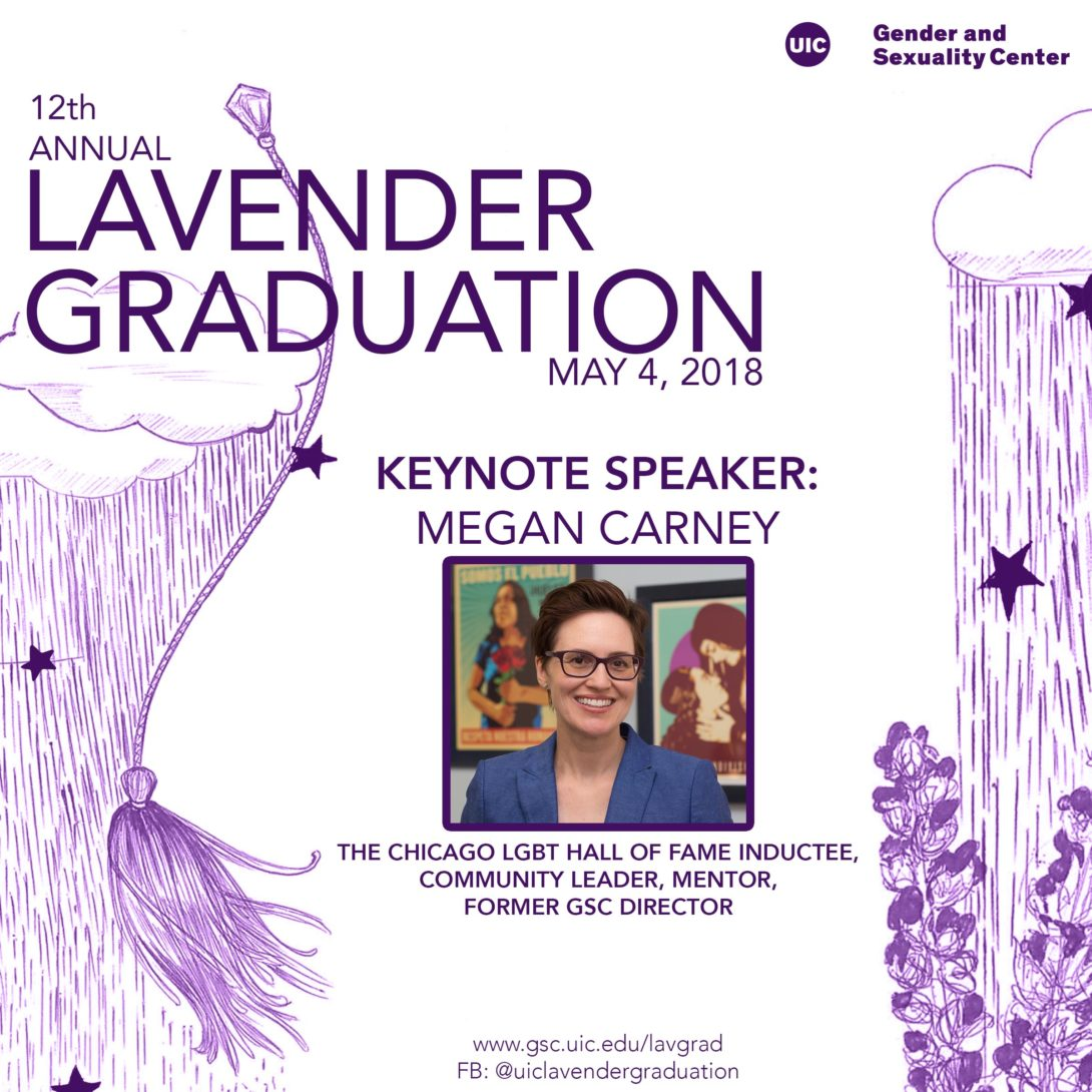 Lavender Graduation keynote speaker announcement that features a picture of Megan Carney with short brown hair, wearing glasses and a blue jacket. On the left side is an illustration of clouds with rain and stars with a tassel in the air. On the right side are more clouds raining down on some lavender flowers.