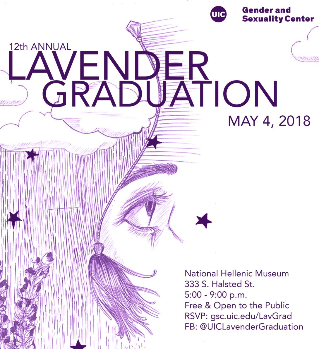 12th Annual Lavender Graduation text with an illustration of clouds with rain/hair coming down on some lavender flowers with a tassel in the air that then shows the eye and eybrow of a person looking in the distance.