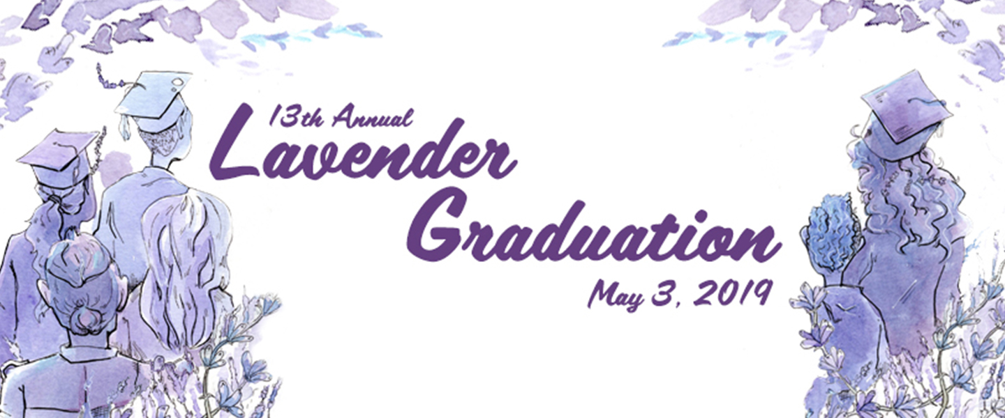 Lavender Graduation with May 3, 2019 date and anchored by illustrations of graduates on the left and right side, with an overlay of lavender color.
