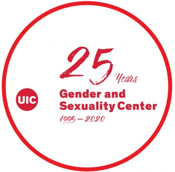 Red text that says 25 years, Gender and Sexuality Center 1995-2020