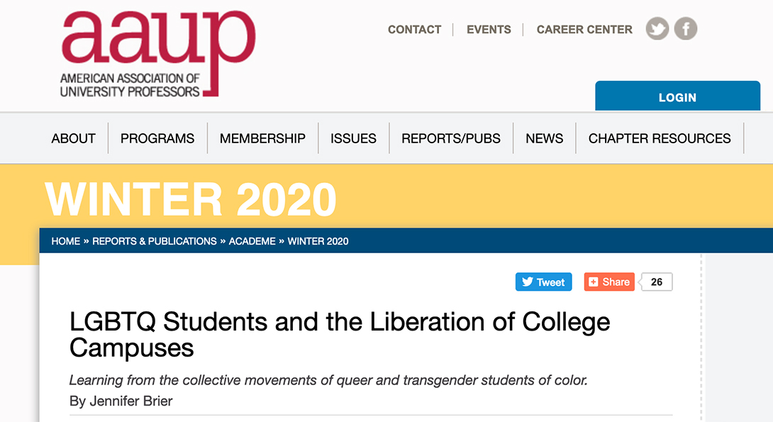 American Association of University Professors Website Header