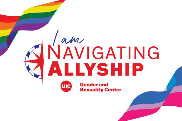 Navigating Allyship logo in red with pride and trans flags
