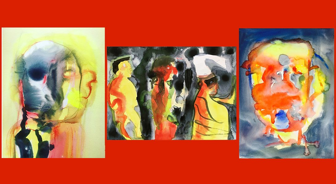3 paintings that are abstract, blurred watercolor strokes & spots of oranges, yellow, black, and navy.