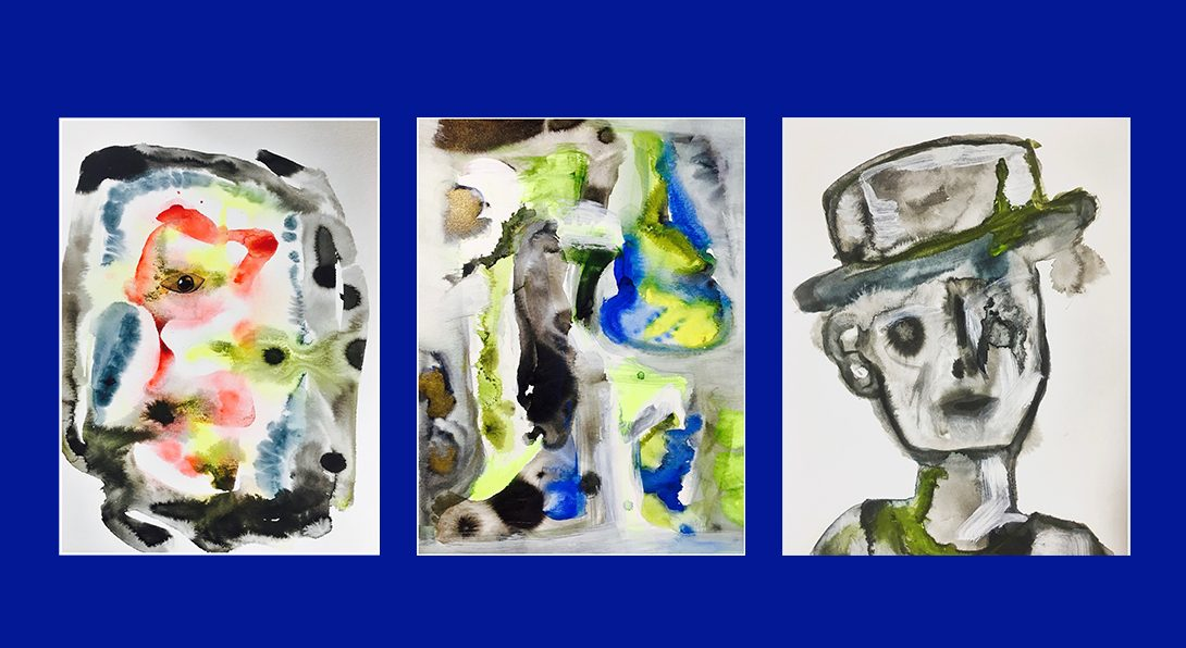 3 paintings that are abstract, blurred watercolor strokes & spots of black, blue, red, yellow, and neon green. Bright blue background.