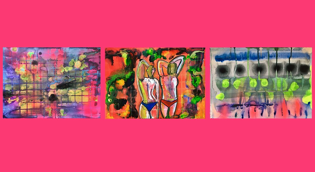 3 paintings that are abstract, blurred watercolor strokes & spots of black, hot pink, blue, red, yellow, and neon green. one painting in the middle has two figures in blue and red bikinis. Hot pink background.
