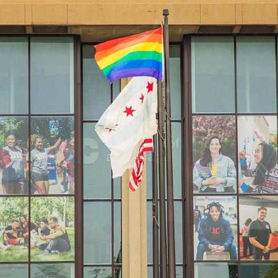 Rainbow flag with Chicago and US flag raised outside of Student Center East signage in the background and trees on the side.